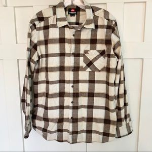 Quicksilver Gray and Cream Plaid Flannel Shirt